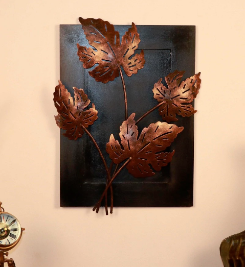 Multicolour Metal Maple Leaf Wall Hanging