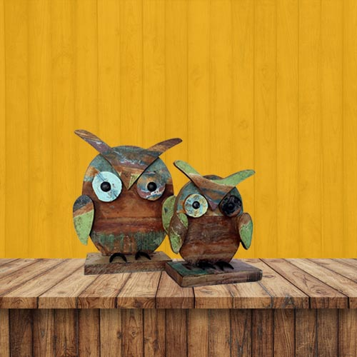 Recycled Wooden & Iron Owl Set