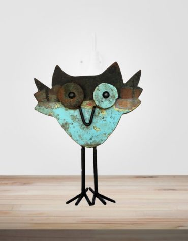 Recycled Scrap Wood And Iron Owl