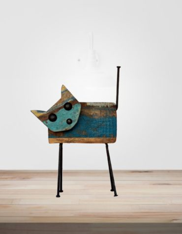 recycled wooden iron cat