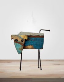 Recycled Wooden & Iron Dog