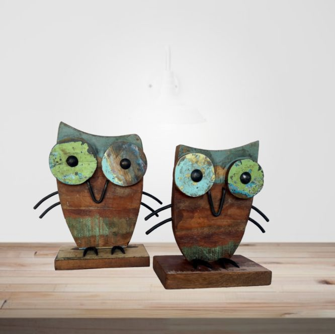 Recycled Scrap Wood Iron Owl Set Of Two Piece