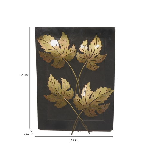 Iron Wooden Copper Finish Leaf Wall Panel