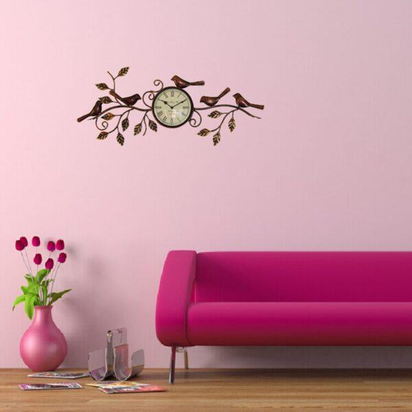 iron five bird wall decor watch
