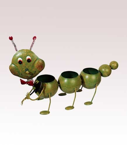 Green Metal Garden Caterpillar Long Planter