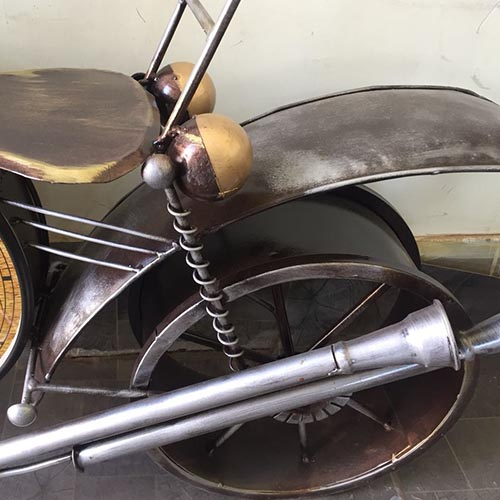 Multicolor Metal bike With Watch Home And Wall Decor