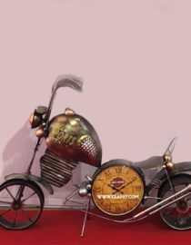 Multicolor Metal bike with watch wall hanging decor