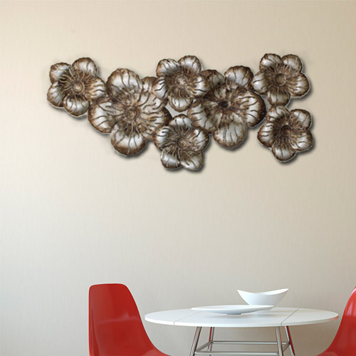 Multicolor Metal Flower Wall Hanging Decor