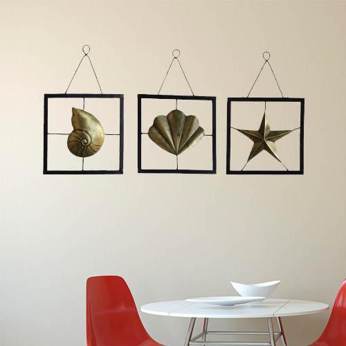 Metal Starfish Seashell Snail Wall Decor Set of 3