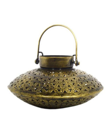 Gold Iron Saucer Tea Light & Candle Holder