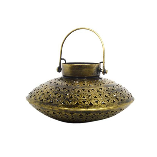 Gold Iron Saucer Tea Light & Candle Holder
