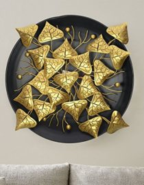 Metal Golden Leaf Wall Hanging Arts