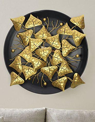 Metal Golden Leaf Wall Hanging Arts