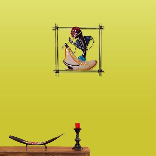 Iron Rajasthani Musician Wall Hanging (30 cm x 8 cm x 30 cm)