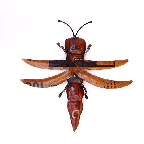 Recycled Iron Figure Wall Mount Grasshopper Showpiece