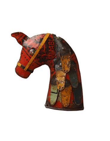 Recycled Iron Figure Mini Horse Wall Mount Showpiece
