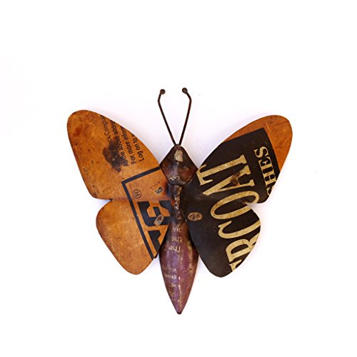 Recycled Iron Figure Wall Mount Butterfly Showpiece