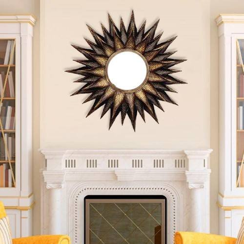 Buy Metal Contemporary Designer Sunflower Wall Decor Mirror Hanging Online    KRAPHY