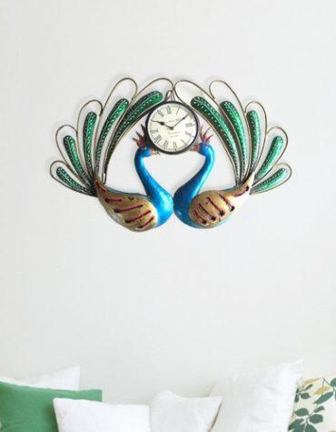 Contemporary Designer Peacock Metal Wall Clock