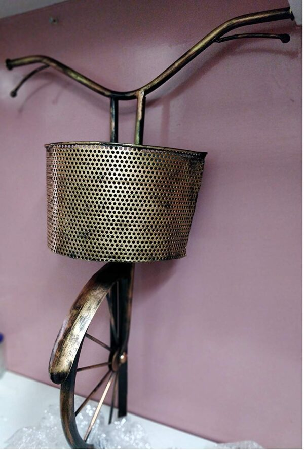Decorative Metal Cycle decor with basket wall hanging