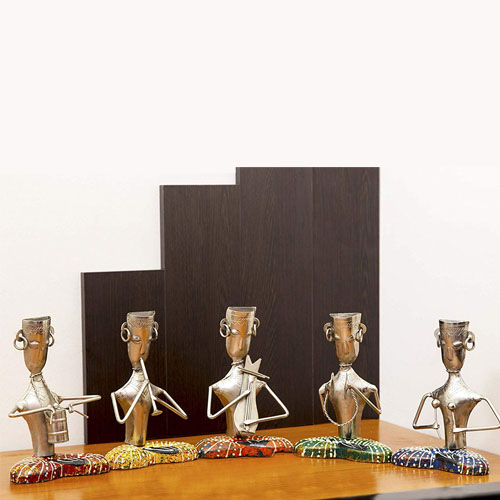 Hand Crafted Rajasthani Musicians in Metal and Wood - Set of 5