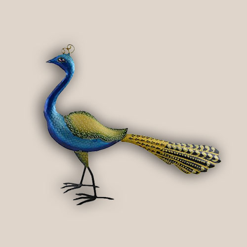 Buy Hand Painted Iron Peacock Home Decor Hand Crafted Sculpture Online