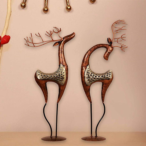 Idols & Figurines Showpiece Center Piece Silver Metal Deer Showpieces For Living Room Hall Bedroom by kraphy