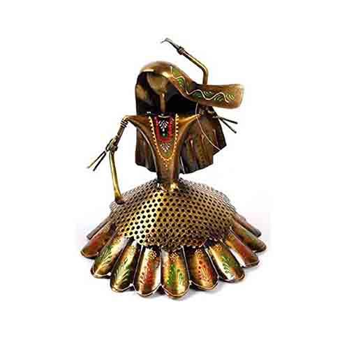 Iron Metal Handicraft Rajasthani Women Dancing Sculpture Decorative Showpiece