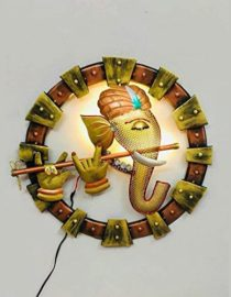 LED Metal Art Wall Hanging Ganesha Playing Flute