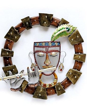 Metal Art Wall Hanging Krishna Playing Flute Wall Hanging