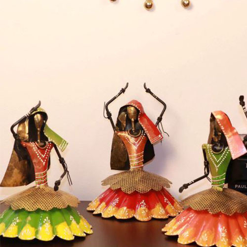 Set Of 3 Home Decor Items Metal Rajasthani Dancing Lady Showpieces