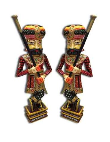 Wooden Home Decor Chokidars Showpiece