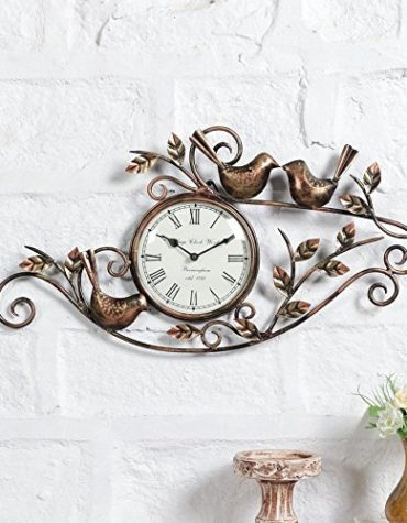 Buy Metal Decorative Bird Leaf Wall Clock Vintage Hanging Decor Arts Online