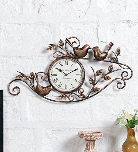 Buy Metal Decorative Bird Leaf Wall Clock Vintage Hanging Decor Arts Online