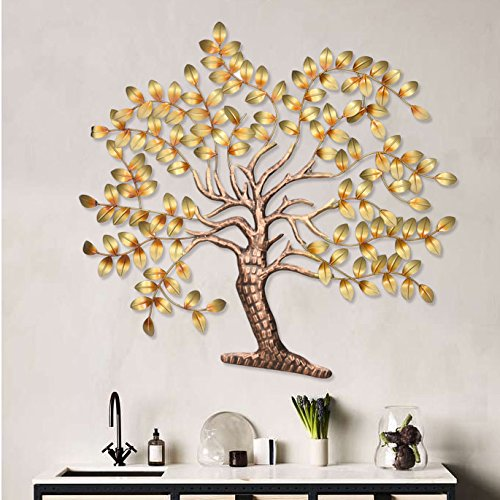 Buy Metal Golden Tree of Life Wall Mounted Art Sculpture Decor Hanging Online