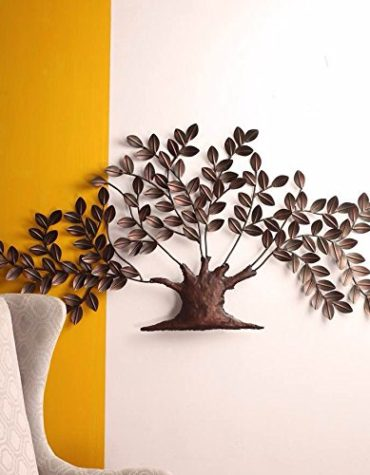 Metal Iron Contemporary Golden Tree Wall Decor Wall Hanging