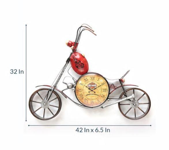Red Metal Wall Decorative Clock Bike Wall Art-2