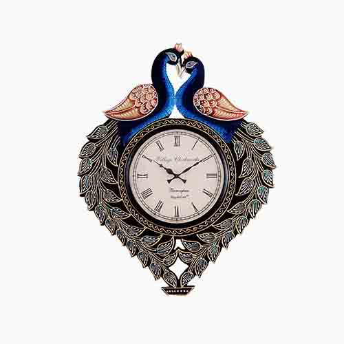 Two Peacock Analog Wall Decorativve Clock