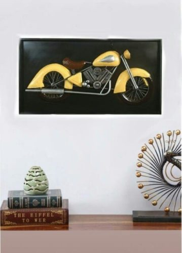 Metal And Wood Antique Bike With LED Wall Hanging