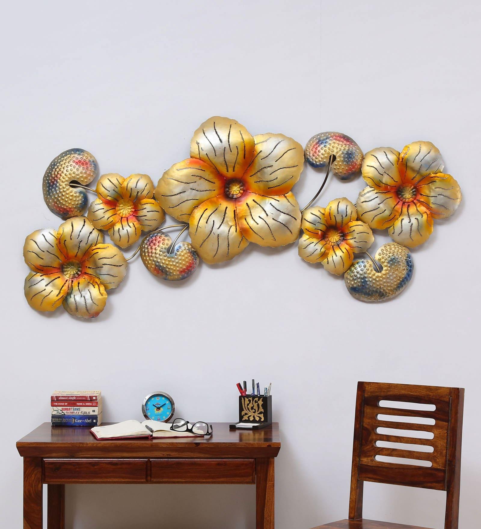 Buy gold iron big flower metal wall art online