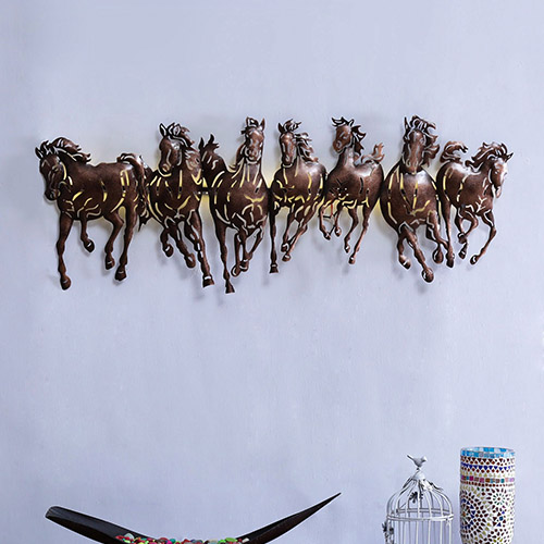 seven horses metal wall
