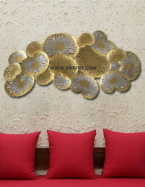 Designer Golden Leaves Metal Wall Decor