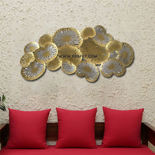 Buy Designer Golden Leaves Metal Wall Decor Online