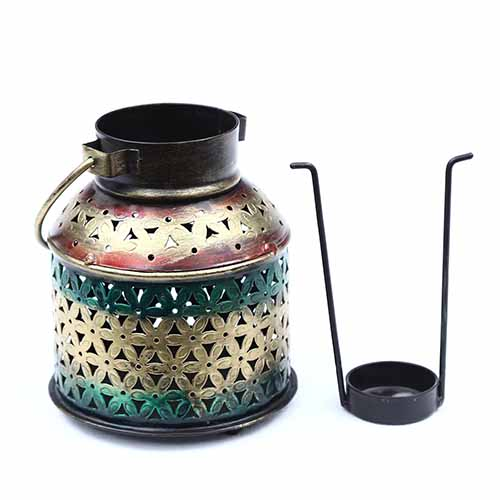 Multicolour Iron Kettle Cut Out Tea Light Holder