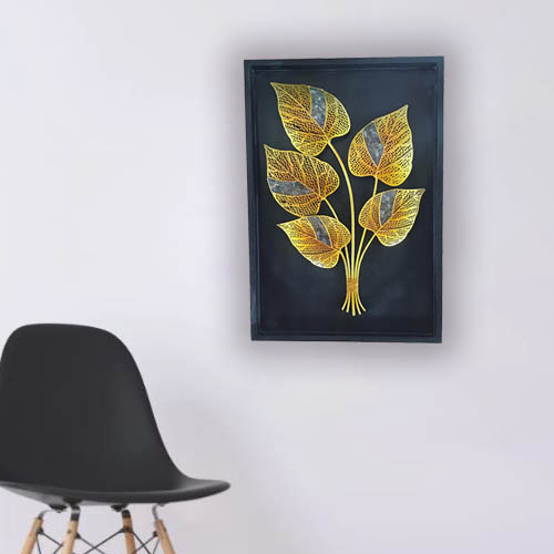 Metal Leaf Wooden Frame Wall Art