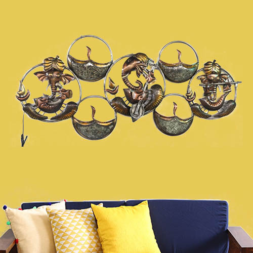 Ring Ganesha Musician With LED Wall Decor