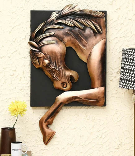 Brown Metal Horse Wall Hanging Art