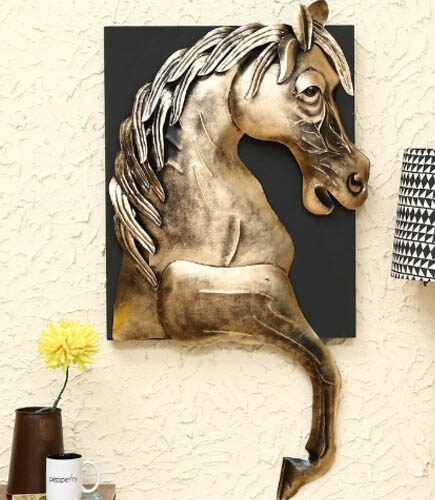 Gold Iron Horse Wall Hanging Wall Art
