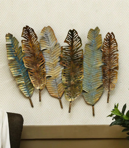 Gold Metal Antique Leaf Decorative Wall Art