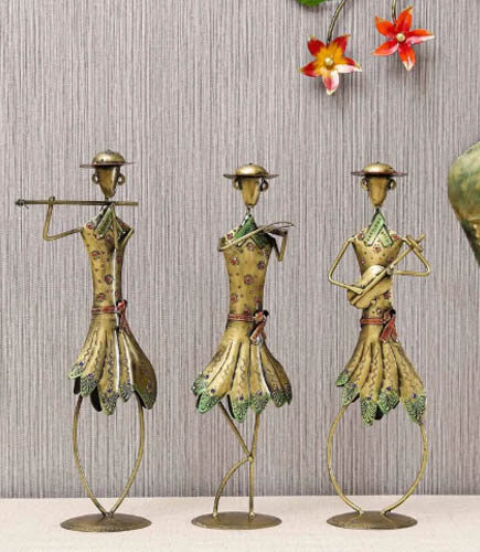 Multicolor Iron Standing Musicians Golden